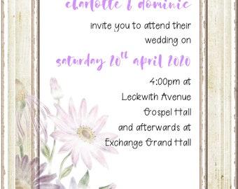 Daisy wedding invitation suite