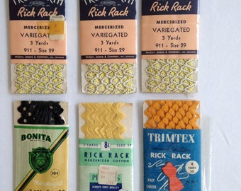 Rick Rack Trim, Vintage Sewing, Crafting Supplies – Variegated Black and Yellow, Black, Yellow and Mustard Yellow - Set of 6 Packages