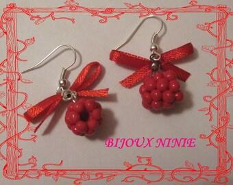 Handmade polymer clay raspberry earrings