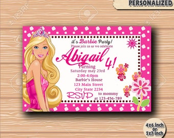 Barbie, Barbie invitation, Barbie Birtday, barbie party, Barbie printtable, Barbie invite, Barbie invited, Princess invitation