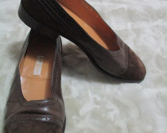 Vintage c.1980's Brown & Leather Suede GUCCI BALLERINA FLATS Size 37