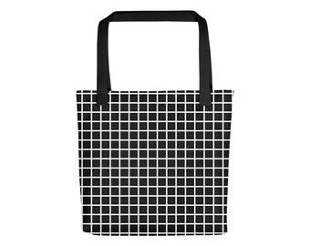 Black Grid Tote Bag   Grid Bag Grunge Bag Aesthetic Bag Pastel Goth Bag Pastel Grunge Bag Festival Cyber Punk Grunge Boho Bag Shoulder Bag