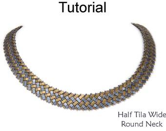New Beading Tutorial Pattern - Miyuki Half Tila Two Hole Beads - Beaded Necklace - Simple Bead Patterns - Half Tila Wide Round Neck #27486
