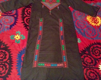 Vintage Palestinian Bedouin Hand Cross Stitched Embroidered Kaftan Dress Red Green and Turquoise on Black Cotton Blend