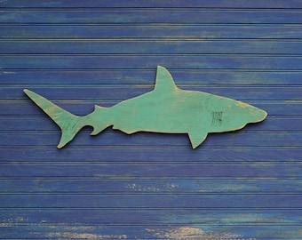 Bois requin signe petit mur Art Mako Shark signe plage côtière nautique en bois signe intérieur ou extérieur