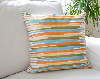Abstract pillow cover, abstract cushion cover, striped pillow cover, striped cushion cover, coral on white pillow, embroidered pillow