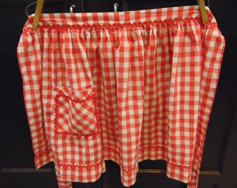 Vintage Red Gingham Check Apron