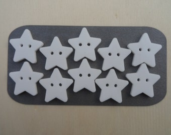 Pack of 5 or 10 Acrylic Star Buttons Available in 5 Colours, White, Silver, Pink, Yellow or Red.