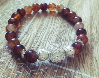Elastic, Brown, silver bracelet, rhinestone, Pearl, boho, stone natural chalcedony, gift, Bohemian, made with love