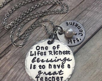 Holiday Sale Teacher necklace, personalized teacher gift