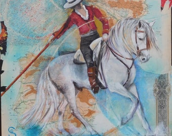original painting of a rider and his gray horse