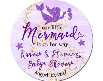 Custom Mermaid Baby Girl Shower Labels  Round Glossy Designer Stickers