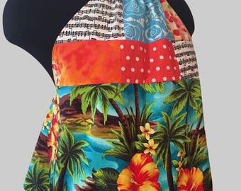 Hawaiian Halter Top//backless//summer top