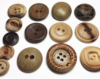 Vintage Wood Button Collection -Old Rustic Buttons - Handmade Wood Buttons - Rustic Fashion - B78 - 13 Buttons