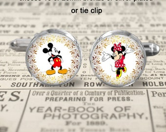 Mickey and Minnie Mouse Cufflinks or Tie Clip - Choose Size & Finish - 16 or 20mm Bronze or Silver Plated - Mickey Mouse Gift Idea - Wedding