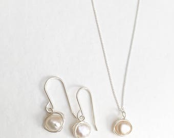 Pearl necklace and earrings set, 925 sterling silver pearl set, pearl jewellery set, pearl jewelry set, silver and pearl jewellery