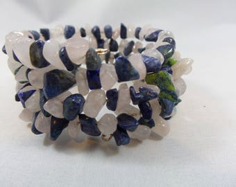 Blue, Clear, and White Stone Memory Wire Beaded Bracelet