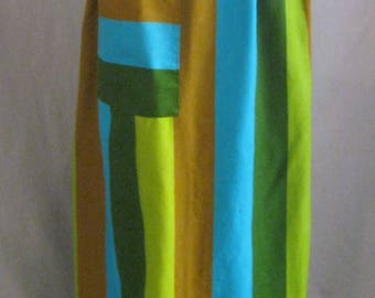 Vintage 60s MCM Colors Linen APRON from SAKS Extra Long Hostess Patio Entertainng At-Home Eames Era Fabric  One Size