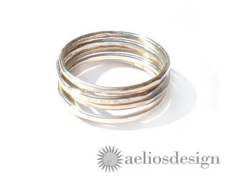 Thin Stacking Rings Sterling Silver Set of 5