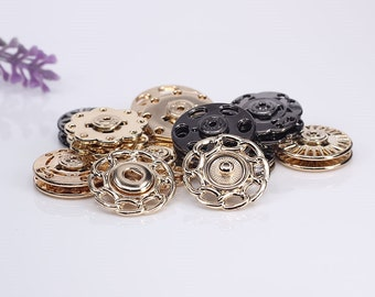 6 Pcs 0.71~0.83 Inches Silver/Gold/Gun black Flower Hollow Snap Fasteners Metal Shank Buttons For Down Jackets Coats Sweaters