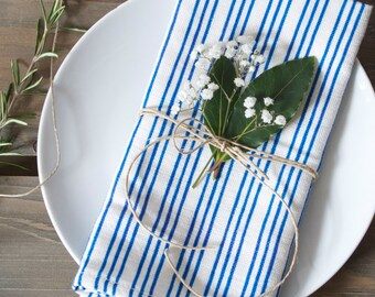 Blue Striped Linen Union Napkins - Set of 2