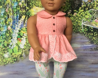 Americana Girl doll top, Capris/Leggings, Collar, Lace top, Shirt, CalvinKlein style outfit, Pants & top,fit like American.Girl doll clothes