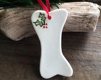 Personalized Dog Bone Felt Ornament Christmas Ornament