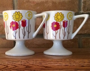 Pair Pedestal Mugs Vintage 1960s Red and Yellow Flowers Flower Power 60s Mod