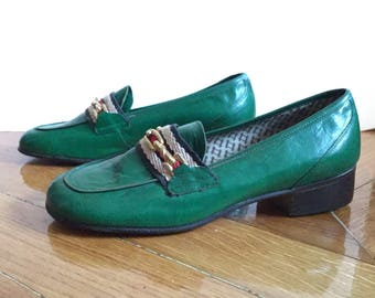 70s loafers leather vintage green/SHALAKO/made in Italy/new/heel tops/size 36/UK 3 US 5