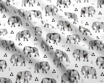 Elephant Fabric - Elephants Geometric With Triangles Black white Grey By Caja Design - Elephant Cotton Fabric By The Yard With Spoonflower