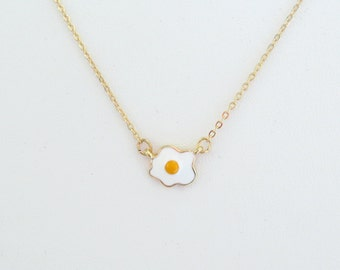 Minimal, Dainty, Fried, Egg, Gold, Necklace, Cute, Yummy, Egg fry, Necklace, Lovers, Best friends, Mom, Sister, Gift, Accessory, Jewelry