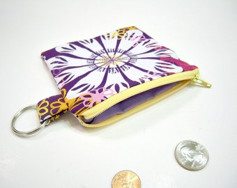 Zippered Pouch or Wallet in Purple, Pink, Yellow and White