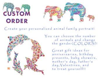 CUSTOMIZE Animal Family portrait- custom order gift, custom orde print, custom order elephant, personalize print, elephant nursery art print