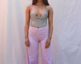 90s 70s Style Disco Party Flare High Waist Pants Trousers