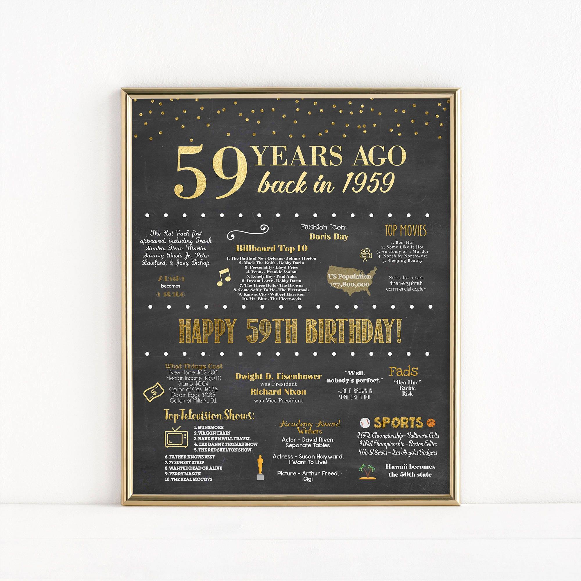 Druckbare 59 Geburtstag Tafel Zeichen 1959