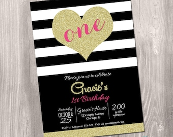 1st birthday invitation, black white gold, heart invitation, pink and gold, first birthday invite, glitter, digital, printable invitation