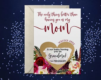 Scratch Off Card Pregnancy Reveal to Mom - Pregnancy Announcement - New Grandma - grandma to be - only thing better than having you as mom