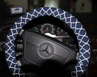 Navy Blue and White Cover Wheel , Steering Wheel Cover .Classic Cover Wheel .Navy Quatrefoil Wheel cover .
