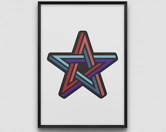 Impossible Star Geometry Art Print Illustration Graphic Design Modern