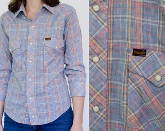 Vintage Wrangler XS Plaid Women's Shirt | 70s Wrangler Button Up Pearl Snap Western Shirt