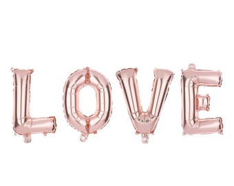 "Rose gold LOVE balloon /  create your own banner/ balloon word / word Balloon Banner / 14"" balloon self sealing"