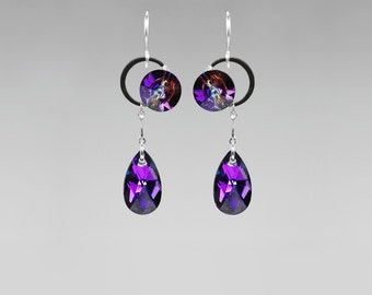 Blue and purple Swarovski Crystal Earrings, Iridescent Crystals, Industrial Jewelry, Heliotrope Crystal, Meridian Blue Crystal, Eris II v10
