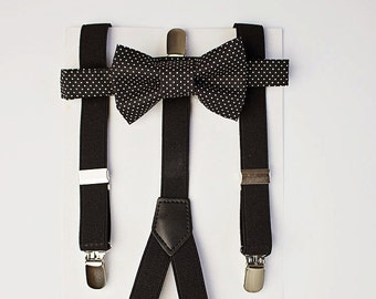Boys Bow Tie, Black Boy Bow Tie and Suspenders, Boys Formal Wear, Ring Bearer Outfit, Toddler Bow Tie, Bowtie Suspenders, Baby Bowtie, Gift