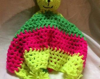 Baby Comforter - Hand Crochet - Neon Colours - Free UK shipping