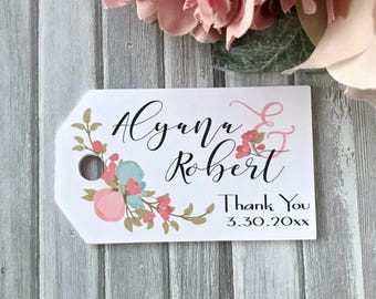 Printed wedding tags, wedding favor tags, engagement hang tags, thank you labels, bridal shower tags , wedding decoration  - set of 24(tg73)
