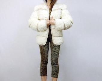 80s Ivory Knit Cardigan Coat Avant Garde Fuzzy Vintage Jacket Womens Oversized Sweater - Medium M