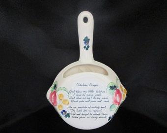 Vintage Norcrest Kitchen Prayer Frying Pan Wall Pocket P 363