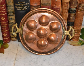 Antique French Copper Pot Pan Escargot or Egg Poacher with Brass Handles French Country Kitchen