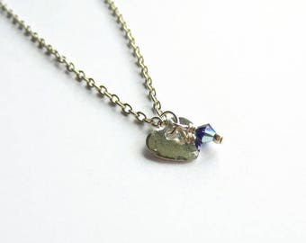 Dainty Silver Heart Charm Necklace with Swarovski Crystal Birthstone - Simple Heart Necklace - Heart Jewelry - Valentines Gift - Mothers Day