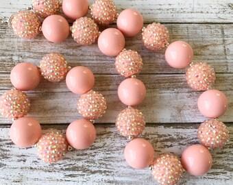 Toddler Peach Chunky Necklace, Peach Bubblegum Necklace, Girl Toddler Peach Necklace, Spring Necklace, Kids Jewelry, Chunky Bubblegum